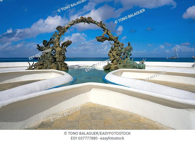Divers fountain in Cozumel at Riviera Maya of Mexico