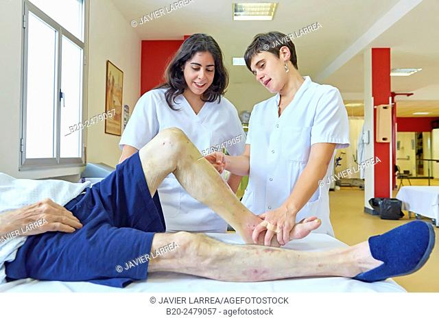 Occupational therapy, physiotherapy, Foot mobilization, reeducation exercise, Rehabilitation, Hospital Donostia, San Sebastian, Gipuzkoa, Basque Country, Spain