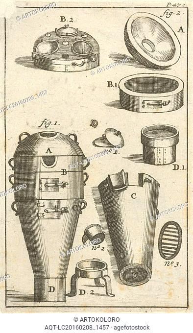 Distillation device and different parts thereof separately, print maker: Jan Luyken, Jan Claesz ten Hoorn, 1693