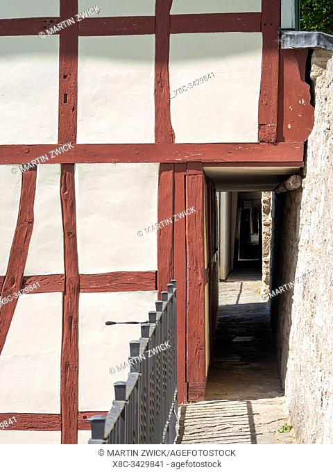 Battlement of town wall. The medieval town Muehlhausen in Thuringia. Europe, Central Europe, Germany