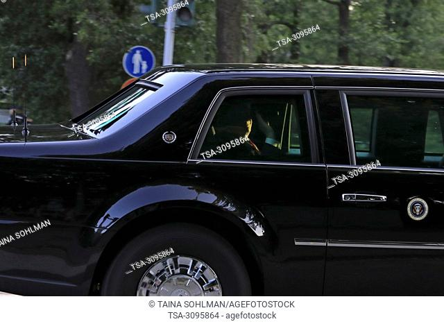 Helsinki, Finland. July 15, 2018. The motorcade of U.S. President Donald Trump and First Lady Melania Trump en route to Hilton Helsinki Kalastajatorppa Hotel