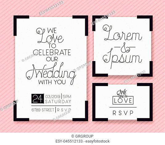 wedding and married invitation set cards vector illustration design