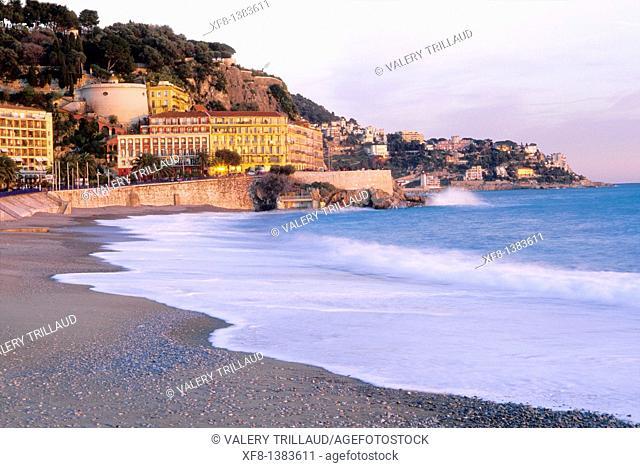 Beach in Nice, Alpes-Maritimes, Provence-Alpes-Côte d'Azur, France