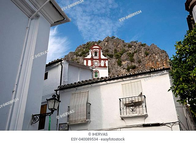 Traditional houses in Ubrique, Cadiz, with the San Antonio church at the background. This village is part of the pueblos blancos (white towns) in southern Spain...