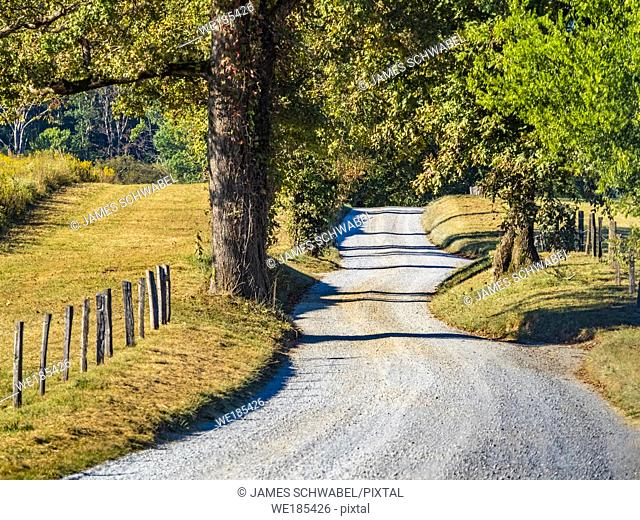 Hyatt Lane, Hyatt Road though Cades Cove in the Great Smoky Mountains National Park in Tennessee in the United States