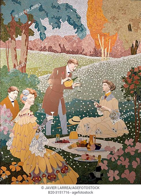 """""""""""""""Picnic in the country"""""""", c.1905-1906, Ceramics Mosaic, Gaspar Homar, Antoni Serra, Josep Pey, Joan Carreras, National Museum of Catalan Art"""