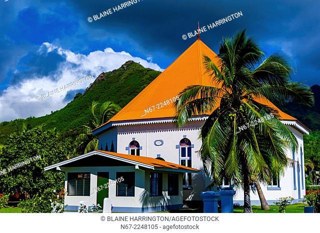 Church, town of Papeto'ai, island of Moorea, French Polynesia
