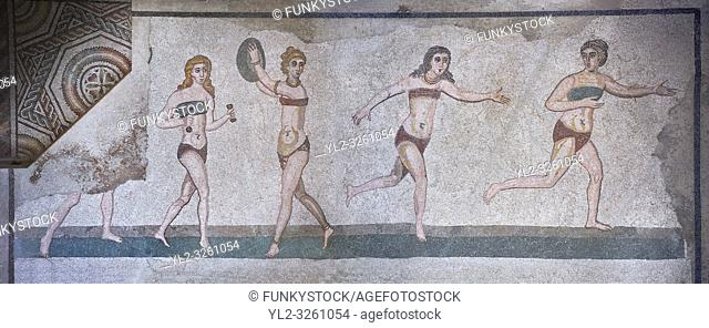 Panoramic pictures of the Roman mosaics of the room of the Ten Bikini Girls depicting Roman women in an athletic competition, room no 30