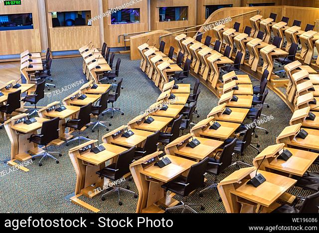 Seats in chamber of Scottish Parliament Building in Holyrood area of Edinburgh, capital of Scotland, part of United Kingdom
