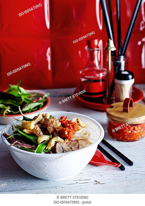 Vietnamese dish with chilli garlic sauce