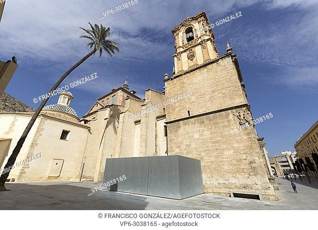 Exterior facade of the Santo Domingo Convent of Orihuela, also known as the Patriarch Loazes School. Province of Alicante, Spain