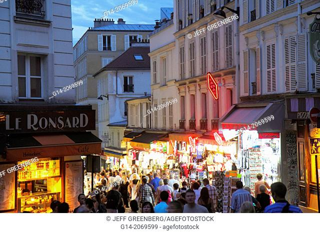 France, Europe, French, Paris, 18th arrondissement, Montmatre, Place Saint St. Pierre, Rue de Steinkerque, night, nightlife, shopping