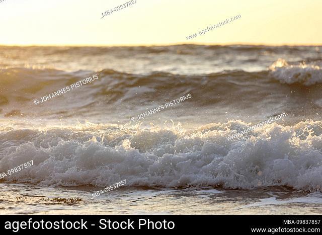 Europe, Denmark, Bornholm, Vang. Evening surf on the west coast