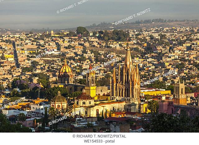 The skyline and the churches of San Miguel de Allende, Mexico