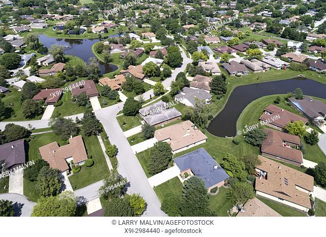Aerial view of a neighborhood in suburban Chicago with two ponds. Northbrook, IL. USA