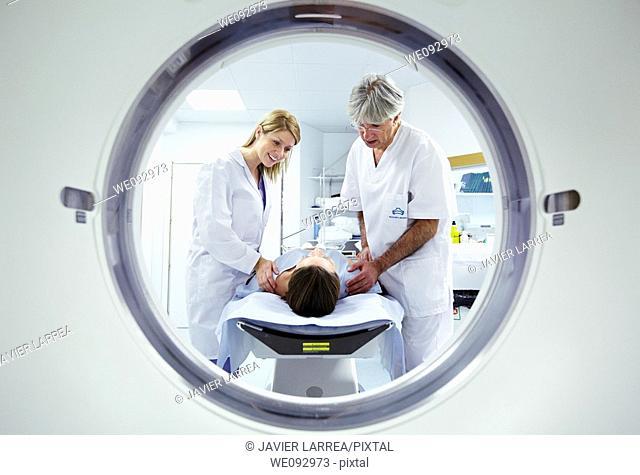 CAT (Computerized Axial Tomography) scan, Radiology, Medical imaging for diagnosis. Hospital Policlinica Gipuzkoa, San Sebastian, Donostia, Euskadi, Spain