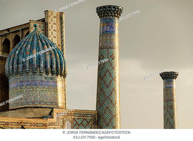 Detail of the Registan minarets, Samarcand, Uzbekistan, Asia