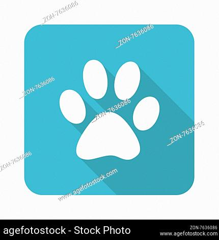 Vector square icon with paw silhouette, isolated on white