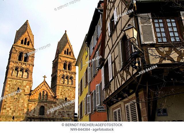 Sélestat, parish church Sainte-Foy, romanic style, and community centre, Alsace, France