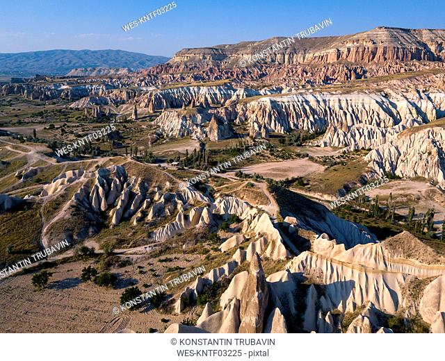 Aerial view of Red valley against blue sky at Goreme, Cappadocia, Turkey