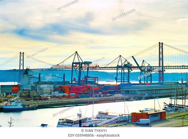 Overview of Lisbon commercial port. Portugal