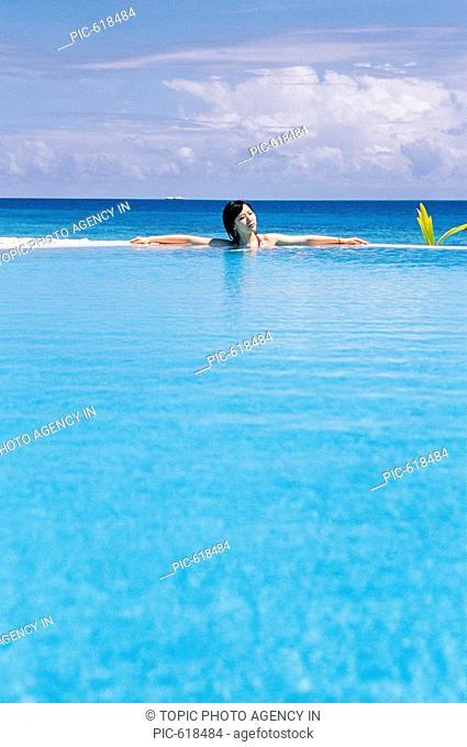 Korean Woman at the Beach, Maldives