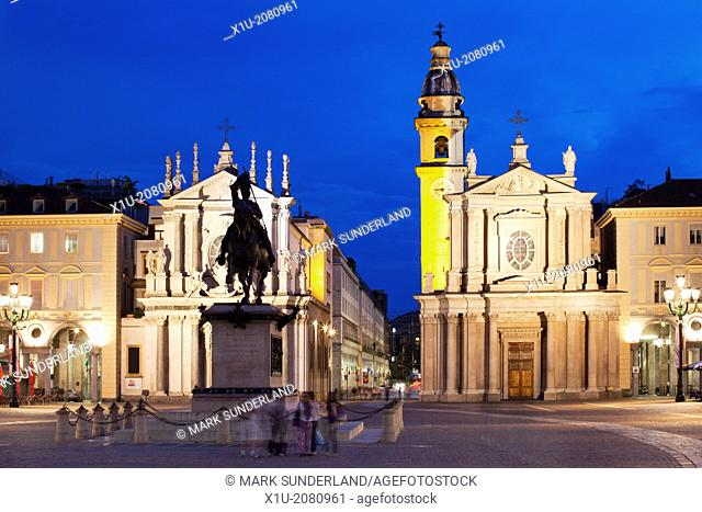 Piazza San Carlo at Dusk Turin Piedmont Italy