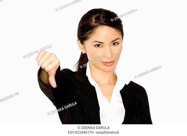 thumb down from business woman