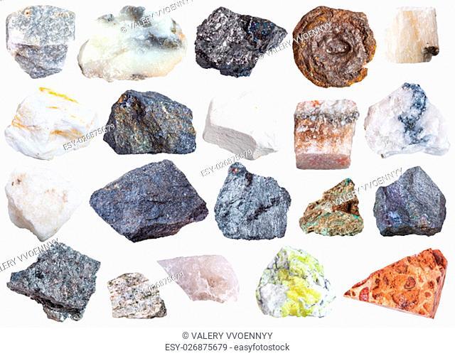 collection of natural mineral specimens - apatite, anhydrite, chalk, molybdenite, bornite, halite, chromite, wolframite, antimonite, bauxite, barite, sulfur