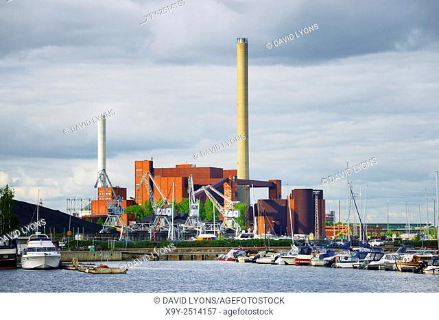 Helsinki, Finland. The Hanasaari B coal fired electricity generation power plant