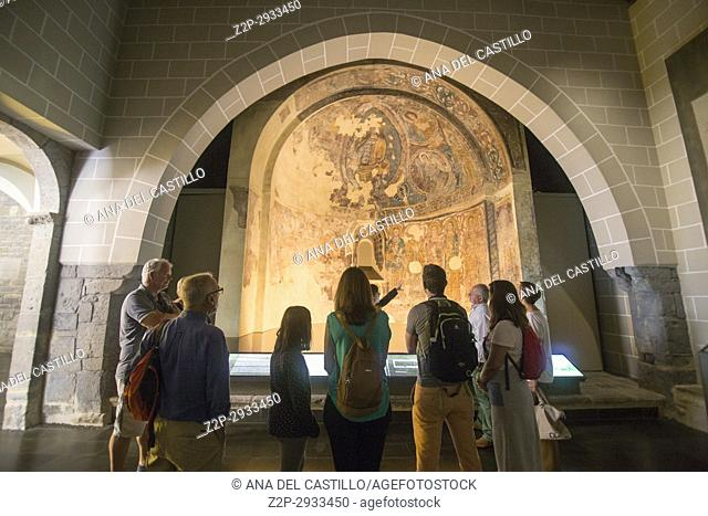 St Peters cathedral in Jaca Huesca Aragon Spain Indoor of church and museum. Romanesque paintings