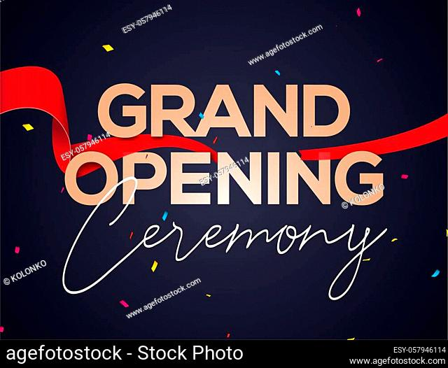 Grand Opening ceremony poster concept invitation. Grand opening event decoration party template