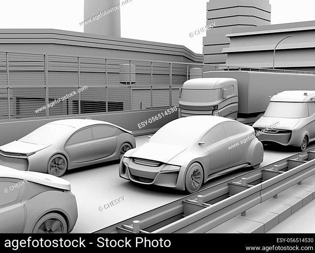 Clay model rendering of traffic jam on a highway. 3D rendering image