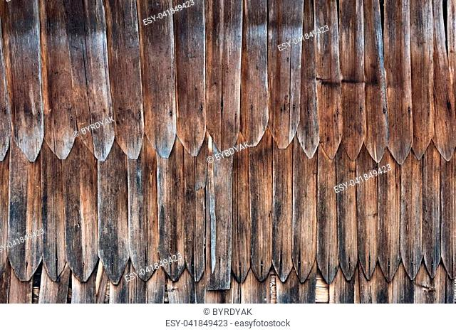 Old brown wooden roof texture closeup