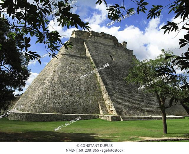 Lawn in front of a pyramid, Pyramid Of The Magician, Uxmal, Yucatan, Mexico