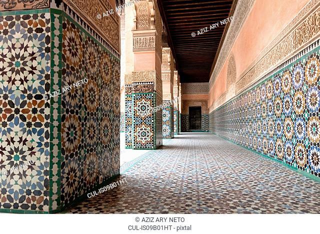 Tiled portico at Ben Youssef Madrasa, Marrakech, Morocco