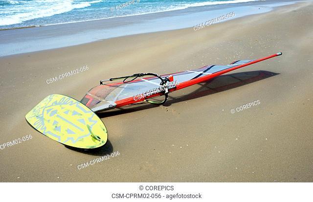 Windsurfing board on a windy, sand-swept beach near the surf and coast line