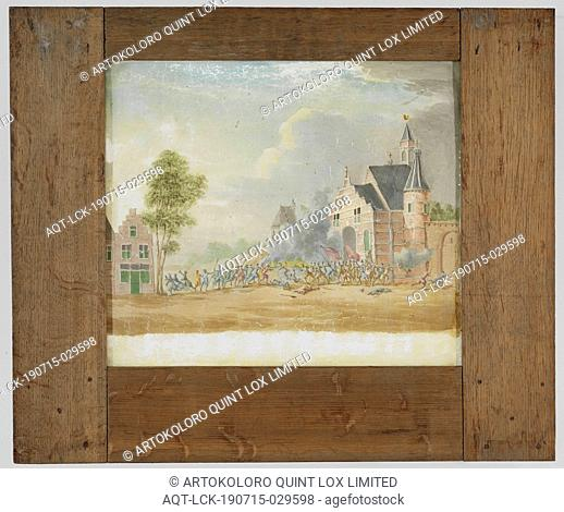 Slide panorama of a battle on a village square, To the right of the plate is a house visible with a tree. There is a church on the left