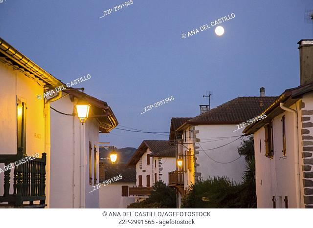 Nightscape, Itxaussu, a picturesque village in the French Basque Country, France
