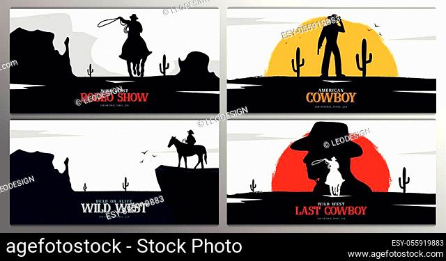 Set of Cowboy banners. Rodeo. Wild West banner. Texas. Vector illustration