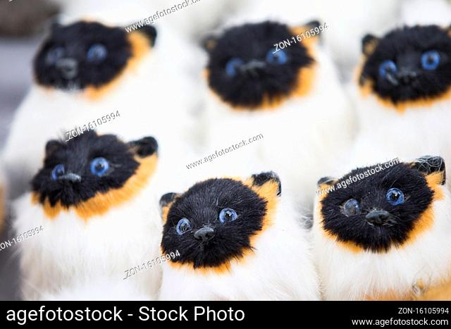 Siamese toy fluffy cats. Many identical kittens