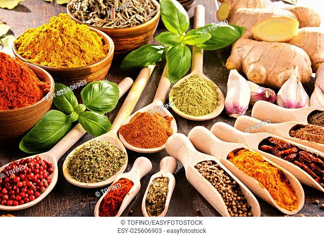 Variety of spices on kitchen table