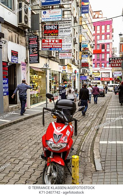 A street scene with shops, and stores in the Black Sea port city of Trabzon, Turkey