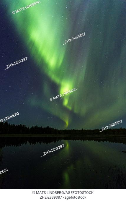 Northern Light, Aurora borealis, reflecting in a lake, Gällivare, Swedish Lapland, Sweden
