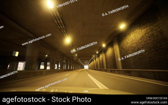 Stockholm, Sweden A car driving through the Norra Lanken highway tunnel on the E4 highway