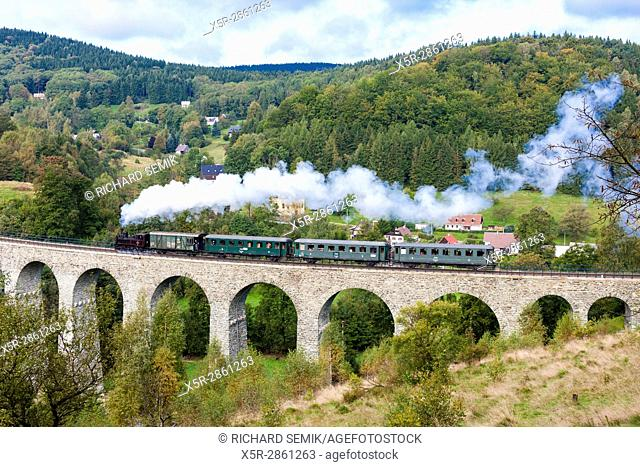 steam train on viaduct Novina, Krystofovo Valley, Czech Republic