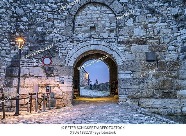 entrance to Berat Castle at dusk, Berat, Albania, Europe