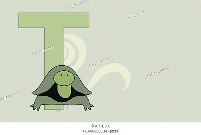 The letter T with a tortoise