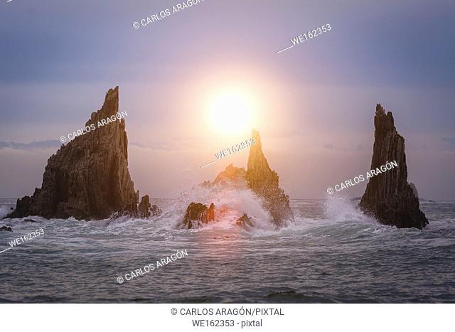 Sunset on Gueirua beach, Asturias, Spain