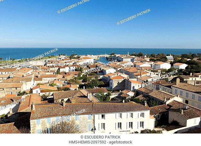 France, Charente Maritime, Ile de Re, Saint Martin de Re, panoramic view from the bellfry of Saint Martin church